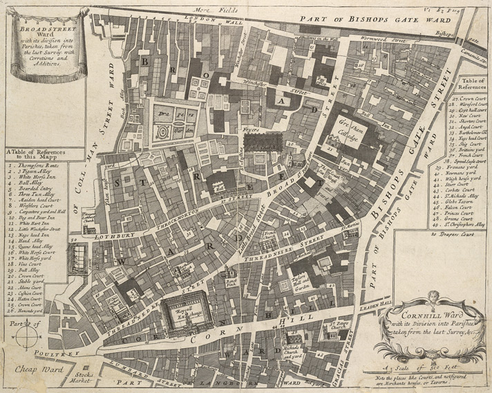 Broad Street Ward with its division into parishes … Cornhill Ward with its divisions into parishes, taken from the last survey, &c. (1720)